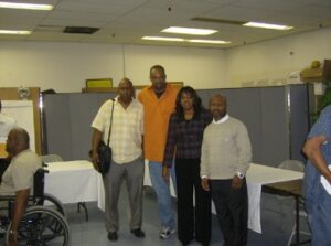 Pastor Camelia with Pastor Donald Boutte, Tron Moller (Consultant) and Pastor Brown leading Community Development Workshop at Churches Supporting Churches monthly with New Orleans pastors.