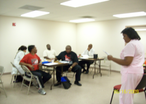 Pastor Camelia conducting Grant Writing Workshop for the Greater New Orleans Clergy for Restorative Justice pastors in New Orleans.